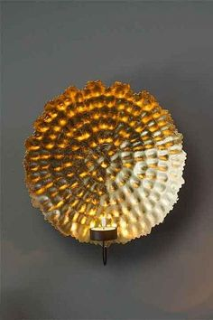 $80.60 Hammered Gold Leafed Candle Wall Sconce Large Metal Hammered Gold Leaf Light Wall Sconce.