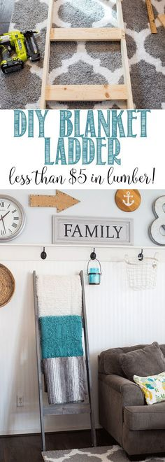 DIY Blanket Ladder for less than $5 in lumber!!!!  Great step by step tutorial so you can make your own! This is an easy DIY project and gives you that farmhouse look. #diyproject #blanketladder #powertools #homedecor #diyhomedecor #diy #farmhouse #magnolia #easydiy