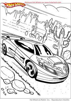 A Colorier, une voiture qui roule à toute allure dans le désert