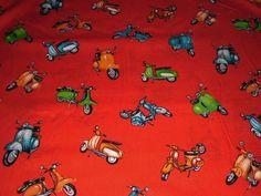 Stoffe gemustert - Scooter Roller Baumwolle rot - ein Designerstück von rosima bei DaWanda