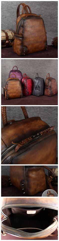 Full Grain Leather School Backpack, Vintage Shoulder Travel Bag A0091
