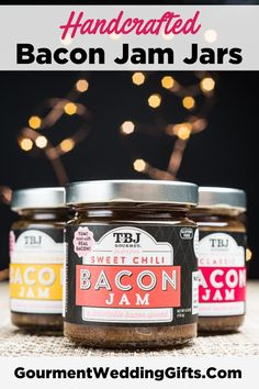 Wedding Reception Food Useful and Unique Wedding Favor. Wedding reception ideas for summer. Custom edible wedding favors for guest. Thoughtful wedding favor ideas on a budget. Personalized Bacon Jam Jars for Wedding. Jam Jar Wedding, Wedding Favour Jars, Edible Wedding Favors, Wedding Favors For Guests, Unique Wedding Favors, Unique Weddings, Fall Wedding, Wedding Gifts, Elegant Wedding