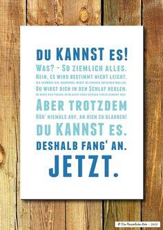 Digitaldruck - Druck/Wandbild/Print: Hab' Mut - du kannst es! - ein Designerstück von DiePersoenlicheNote bei DaWanda