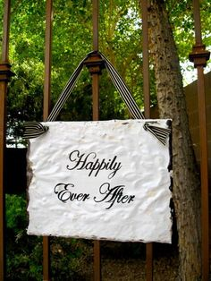 Happily Ever After Wedding Sign made with Antique Ceiling Tin.