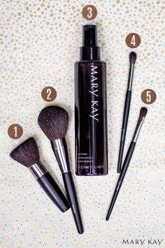 Lost when it comes to makeup brushes? Here's a quick guide: 1 - Mineral Foundation, 2 - Powder, 3 - Brush Cleaner, 4 - Eye Crease, 5 - Eye Color. Click through to see them all! | Mary Kay