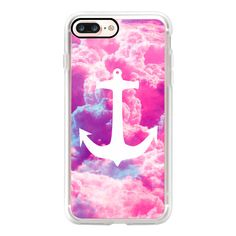 Girly Nautical Anchor Bright Pink Clouds Sky - iPhone 7 Case, iPhone 7... ($35) ❤ liked on Polyvore featuring accessories, tech accessories, iphone case, slim iphone case, apple iphone case, iphone cover case and iphone cases
