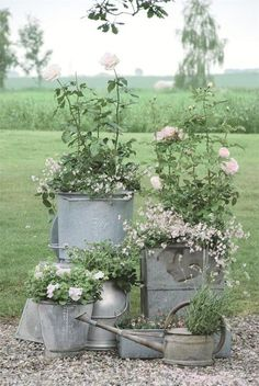 Collection instead of one large.  Use slate pieces instead of large   rock  Galvanized Planter Love | Content in a Cottage