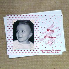 Letterpress Holiday Ribbon Photo Card - armatodesign.etsy.com Customizable #letterpress #holiday photo cards. Each set includes 50 letterpress cards with your wording and in your choice of color and font, 50 white envelopes and 200 self adhesive photo corners. You just add your own photo. #christmas #photocard #custom #stationery #retro #ribbon