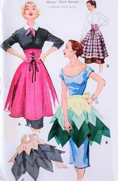1950s RARE Corset and Petal Hostess Apron Pattern McCalls 1758 Stunning Designs One Size Vintage Sewing Pattern UNCUT