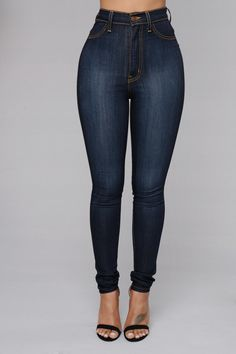 Classic High Waist Skinny Jeans - Medium Blue | Hourglass figure ...