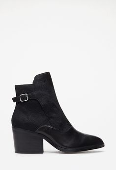 Buckled Ponyhair & Leather Booties | FOREVER21 - 2000118130