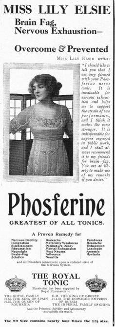 """phosferine ... """"greatest of all tonics"""" ... phosferine is a herbal supplement containing cinchona bark extract, sodium benzoate (preservative), potassium sorb ate (preservative), citric acid, water and coloring ..."""