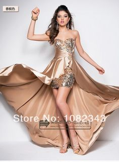 Free Custom,Free Shipping Luxury Crystal Sequins Strapless Evening Dress Long Back Short Front Tube Top Prom Dresses2014