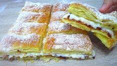 Kdykoliv chcete upéct něco rychlého a chutného, je dobrou volbou tento dort z listového těsta. Až ho vyzkoušíte, budete ho milovat Hot Dog Buns, Kefir, French Toast, Sandwiches, Deserts, Food And Drink, Bread, Cooking, Breakfast