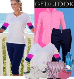 Can you rock these Pink And Blue Golf Style on the golf course? Exclusive at lorisgolfshoppe.polyvore.com  #ootd #golfwear #lorisgolfshoppe