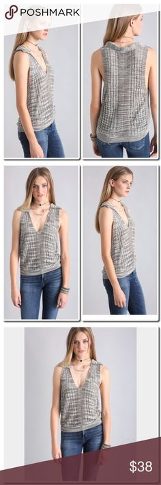 """NWOT FREE PEOPLE Sleeveless Sweater Leave it to Free People for combining two styles and rolling them into one unexpectedly cool piece. This Dots & Dashes polo sweater boasts a V-neckline, collar accent, loose knit shell, and faded striped print for a refreshing statement.   Dots & Dashes polo sweater V-neckline Sleeveless Loose knit Striped print Semi-sheer 67% rayon / 33% polyester Hand wash cold, dry flat Measures approximately 24"""" from shoulder Model shown wearing size extra small (XS)…"""