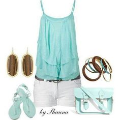 I love this outfit!! Pretty light blue shirt, sandals, and purse with white pants, brown earrings, and brown and blue bracelets,