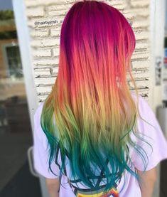 Fresh New Summer Rainbow Hair Color Ideas - Haare - Pretty Hair Color, Hair Color And Cut, Hair Color Blue, Hair Dye Colors, Rainbow Hair Colors, Ombre Hair Rainbow, Colored Hair, Pinterest Hair, Mermaid Hair