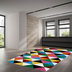 Multi Rug by Theko Vibrant Colors, Living Spaces, Cleaning, Rugs, Interior, How To Make, Mesh, Stylish, Chic