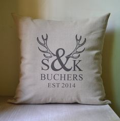 Deer antler,couple initial,Personalized pillow cover,pillow case,cushion cover,decor pillow cover,anniversary ,bridal shower ,wedding gift on Etsy, $18.00