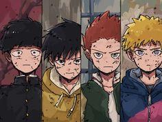 Mob Psycho Shigeo Kageyama (Mob), Ritsu Kageyama, Shou Suzuki and Teruki Hanazawa (Teru) Kawaii Anime, Jojo's Bizarre Adventure, Arte Game Of Thrones, Mob Psycho 100 Anime, Mob Physco 100, Otaku, Fan Art, Demon Slayer, Kageyama