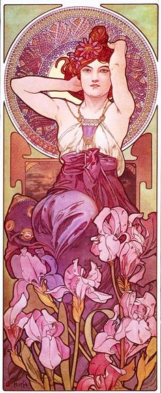 Alphonse Mucha: Amethyst/ L'Amethyste A beautiful Art Nouveau Lady. Alfons Maria Mucha, often known in English and French as Alphonse Mucha, wa. Art Nouveau Mucha, Alphonse Mucha Art, Art Nouveau Poster, Mucha Artist, Art And Illustration, Art Deco, Illustrator, Jugendstil Design, Inspiration Art