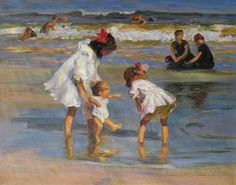 Edward Henry Potthast(American 1857 - 1927)  Children Playing at the Seashore