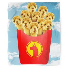Llama fries! Blanket Details: - Printed in USA! - Poly Fleece Thick Plush Material - Custom Printed on front - Taupe Color Brushed Fabric Bottom All blankets print & ship within 5 - 7 days of your ord