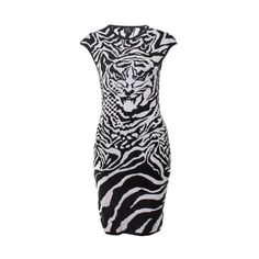 McQ By Alexander McQueen Dress Zebra/Tiger In Optic White/Black (€345) ❤ liked on Polyvore featuring dresses, zebra print dress, black and white zebra dress, black and white dress, sleeveless dress and white black dress
