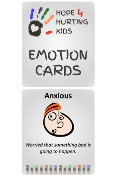 Each of these 54 cards emotion cards from Hope 4 Hurting Kids includes the name of a emotion, a face demonstrating that emotion, and a brief definition of the feeling.