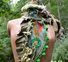 Cashmere SCARF WRAP with felt leaf crochet detail by Amber studios on Etsy