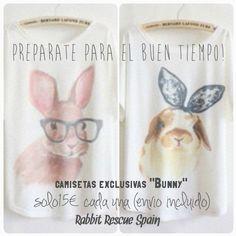 """!preparate para el buen tiempo! Camisetas exclusivas """"Bunny"""" solo 15€ cada una, envio incluido (3€ de descuento para dos o mas productos) Pedidos/PayPal: info@rabbitrescuespain.org (Plazo entrega 30 días aprox.)"""