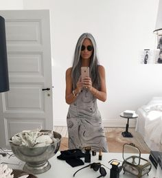 ANNIKA VON HOLDT. I love her look. Total hair goal for me. Natural grey haired beauty. Stunning.