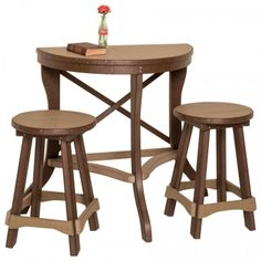 Amish #Poly Half Round Patio #Pub Table 3 Piece #Set Amish Made Patio Pub & Bar Sets | Pinecraft.com
