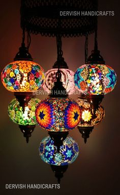 Chandelier Lighting Light Fixture Hanging Light Rustic Turkish Chandelier Lighting Modern Lighting DMulticolour Turkish Mosaic Hanging Lamp Light Hand Made 7 Large Globe. REF NUMBER Best Regards /.A Truly mesmerizing Turkish Mosaic hanging pendant chandel