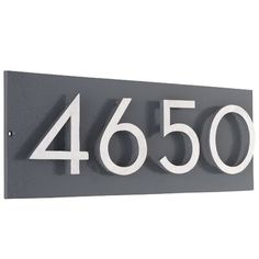Montague Metal Products Inc. Floating Wall Address Plaque Background Color: Gray, Font Color: Silver, Customization: Yes Montague Metal Products Inc. Address Numbers, Address Plaque, Contemporary House Numbers, House Numbers Modern, Metal House Numbers, Whitehall Products, House Number Plaque, House Address, Floating House