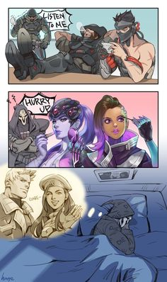 By HAGE on Pixiv - Reaper Sombra Widowmaker Genji McCree Ana Not a ship, but cute Overwatch Comic, Overwatch Reaper, Overwatch Memes, Overwatch Fan Art, Overwatch Widowmaker, Overwatch Genji, Blackwatch Mccree, Desenhos League Of Legends, Game Character