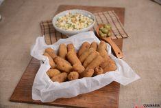 Receita de Croquetes de farinheira e azeitona com arroz de legumes. Descubra como cozinhar Croquetes de farinheira e azeitona com arroz de legumes de maneira prática e deliciosa com a Teleculinária!