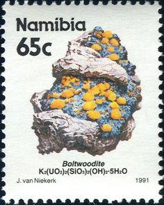 Namibia 1991 - Boltwoodite (Namibia) (Oranjemund Alluvial Diamond Mine) Mi:NA 650