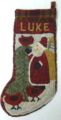 Primitive Santa and Cardinals Rug Hooked Stocking