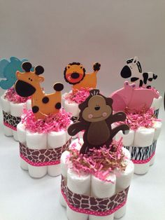 SIX Safari Diaper Cakes Baby Shower by MrsHeckelDiaperCakes