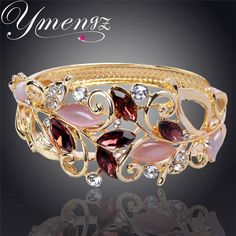 YMENGZ Variety Of Colors Of Leaves Gold Color  Austrian Crystal Bracelets Bangle For Women Fashion Jewelry Wholesale