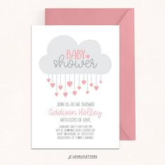 Cloud Baby Shower Invitation / Shower with Love Invitation /