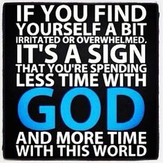 Jesus is waiting on us to spend time with Him so the cares of this life don't move our focus from Him
