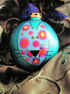 Cat......Whimsical Hand Painted Ornament. $17.95, via Etsy.