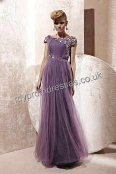 Floor Length Square Purple Tulle A-line Evening Dress  http://www.mypromdresses.co.uk