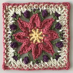 Ravelry: Macey Ann Afghan Square pattern by Pam Knighton-Haener Crochet Blocks, Granny Square Crochet Pattern, Afghan Crochet Patterns, Crochet Motif, Crochet Stitches, Knit Crochet, Knitting Patterns, Free Crochet Square, Granny Square Tutorial