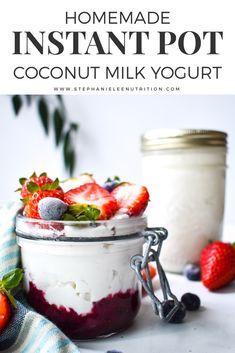 Instant Pot Coconut Milk Yogurt In need of an easy coconut milk yogurt recipe? Try this homemade Instant Pot Coconut Milk Yogurt recipe for a cheaper, tastier yogurt than you'll find in the store! Coconut Yogurt Recipe, Coconut Milk Yogurt, Coconut Milk Nutrition, Dairy Free Yogurt, Vegan Yogurt, Cheese Nutrition, Yogurt Recipes, Broccoli Nutrition, Pasta Nutrition