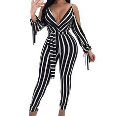 d88647621f High Waist Club Skinny V Neck Striped Long Pant Cold Off Shoulder Bow Tie Jumpsuit  Rompers Summer Women`s Sexy