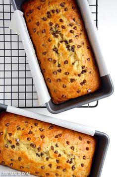 Chocolate Chip Cake Mix Banana Bread   recipe via justataste.com